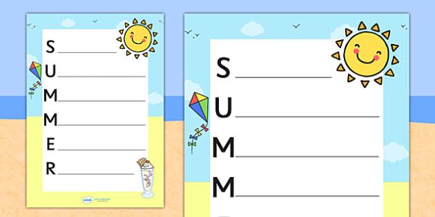 Summer Acrostic Poem Template - summer, summer acrostic poem, summer acrostic template, weather and seasons, seasons acrostic poem, seasons poem template