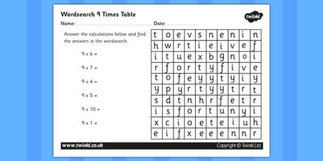 9 Times Table Activity Sheet - nine times table, maths