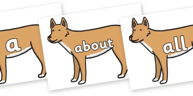 100 High Frequency Words on Dingo - High frequency words, hfw, DfES Letters and Sounds, Letters and Sounds, display words