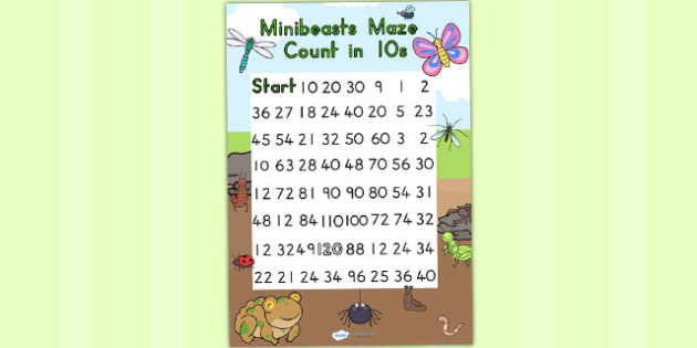 Minibeasts Cute Counting in 10s Maze Worksheet - counting aid