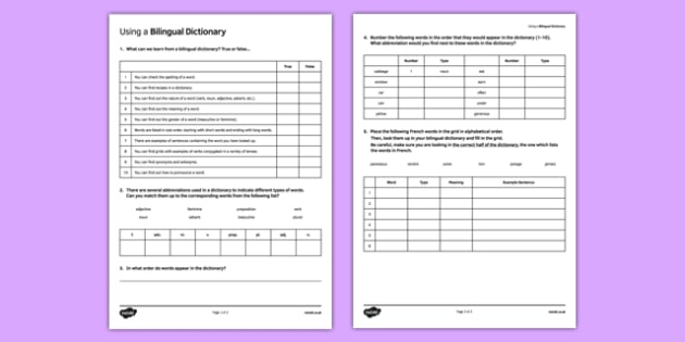 Utliser un dictionnaire bilingue - french, Dictionary Skills, bilingual dictionary