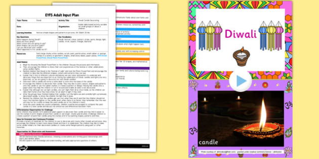 Diwali Candle Decorating EYFS Adult Input Plan and Resource Pack