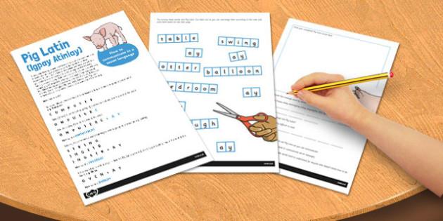 Pig Latin Secret Language Activity Sheet - pig latin, language, worksheet