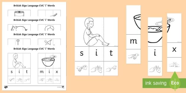 British Sign Language CVC 'i' Jigsaw Words - BSL Resources, British Sign Language, fingerspelling, deaf, jigsaw, puzzle, signing, spelling, spell