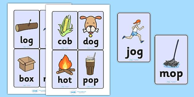 CVC Word Cards (o) - CVC, CVC word, three phoneme words, three sound words, consonant vowel consonant, words, three letter words, letters and sounds, DfES letters and sounds