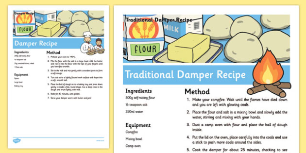 Damper Recipe Sheets - australia, Recipe, Damper, Bread, Australian, Cooking, Baking, Procedure