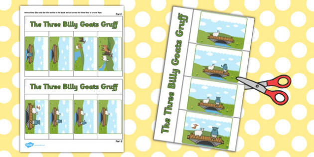 The Three Billy Goats Gruff Story Writing Flap Book - flap book