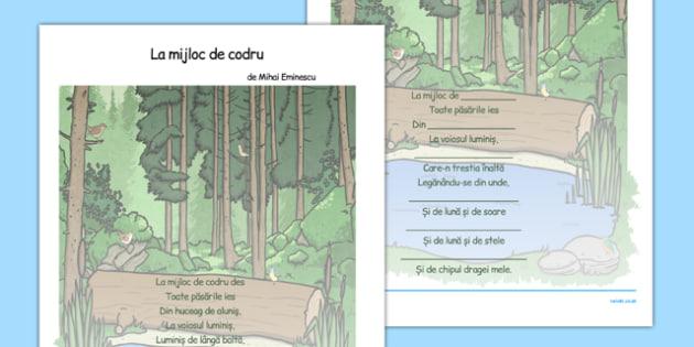 Mihai Eminescu, La mijloc de codru,  Fisa - poezie ilustrata