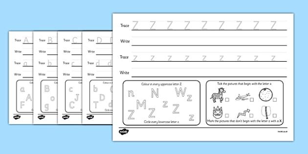 Alphabet Practise Activity Sheets - alphabet, alphabet practise, alphabet worksheet, worksheets, alphabet sheets, letters, a-z, letters practise, word practise
