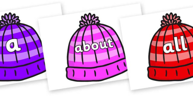 100 High Frequency Words on Woolly Hats - High frequency words, hfw, DfES Letters and Sounds, Letters and Sounds, display words