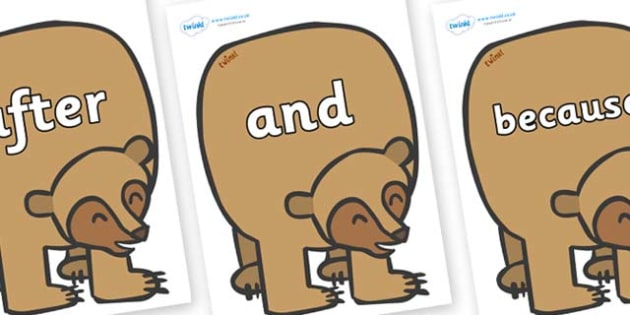 Connectives on Brown Bear to Support Teaching on Brown Bear, Brown Bear - Connectives, VCOP, connective resources, connectives display words, connective displays