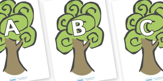 A-Z Alphabet on Trees - A-Z, A4, display, Alphabet frieze, Display letters, Letter posters, A-Z letters, Alphabet flashcards