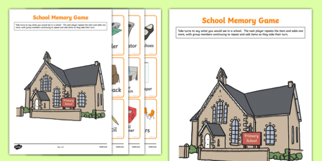 End of School Memory Game Activity Sheet, worksheet