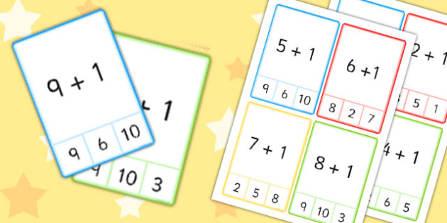 Plus 1 Peg Cards to 10 - plus 1, peg, cards, 10, numeracy, maths