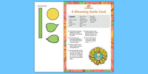 A Blooming Smile for Grandma and Grandpa Card Craft Instructions