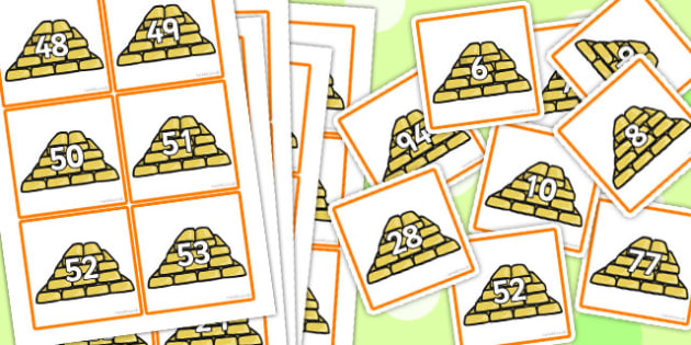 Rumpelstiltskin KS1 Gold Number Cards 1 to 100 - number, cards