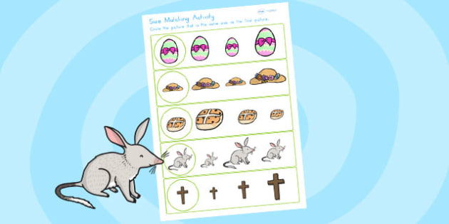 Easter Size Matching Worksheet - easter, size, match, shape