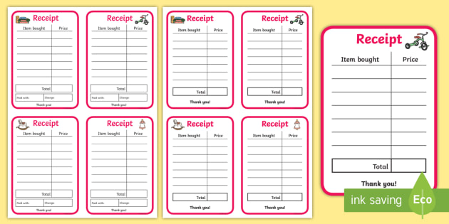 Toy Shop Role Play Receipts - toy shop, role play, receipts, toy shop receipts, role play receipts, toy shop role play, role play props, toys