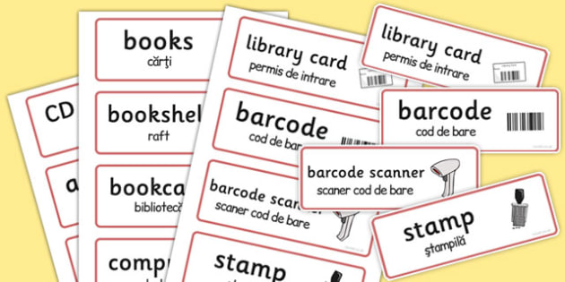 Library Role-Play Word Cards Romanian Translation - romanian