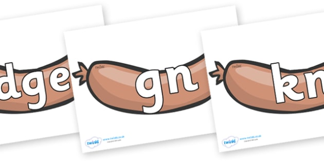 Silent Letters on Sausages to Support Teaching on The Very Hungry Caterpillar - Silent Letters, silent letter, letter blend, consonant, consonants, digraph, trigraph, A-Z letters, literacy, alphabet, letters, alternative sounds