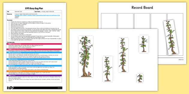 Beanstalk Order EYFS Busy Bag Plan and Resource Pack to Support Teaching on Jasper's Beanstalk - height, length, order, mathematics, EYFS