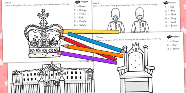 Royal Family Colour By Numbers - count, counting aid, colouring