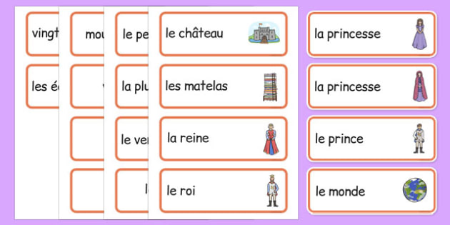 The Princess and the Pea Word Cards French - french, The Princess and the Pea, Word cards, Word Card, flashcard, flashcards, prince, queen, princess, pea, castle, fairytale, traditional tale, Hans Christian Andersen, story