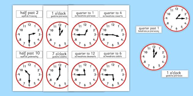 Analogue Clocks Polish Translation - polish, analogue, clocks, time, quarter past, o'clock