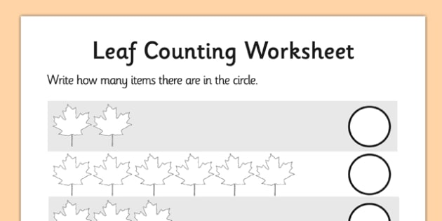 Leaf Counting Worksheet - leaf, counting, worksheet, leaf counting, count, numeracy