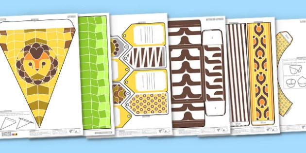 Enkl Safari Printable Party Pack - Enkl, arts, crafts, activity, adult, home, decor, designer, designer, decoration, interior, project, printable, cute, simple, paper, models, 3D, shape, colour, safari, party