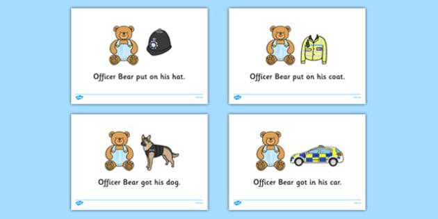 Officer Bear Read Aloud Story - Officer Bear, Police Officer, police station, hat, car, siren, dog, coat, light, help, save, rescue, emergency, 999