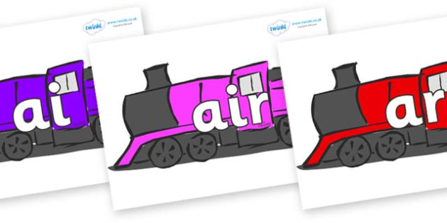 Phase 3 Phonemes on Trains - Phonemes, phoneme, Phase 3, Phase three, Foundation, Literacy, Letters and Sounds, DfES, display