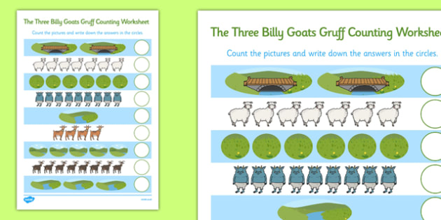 The Three Billy Goats Gruff Counting Sheet - counting, billy goat