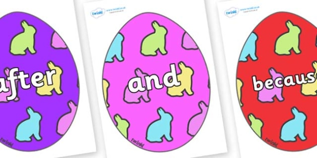 Connectives on Easter Eggs (Rabbits) - Connectives, VCOP, connective resources, connectives display words, connective displays