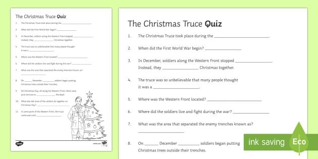Christmas Truce 1914 Quiz Activity Sheet