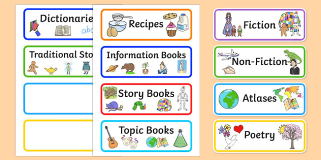 Library Role Play Book Labels - library, books, book, label, book label, labels, fiction, non-fiction, reading, card, librarian, shalves, labels, label
