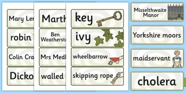The Secret Garden Word Cards - word cards, cards, secret, garden
