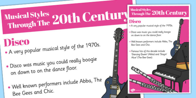 Musical Styles Through the 20th Century: Disco Information Poster