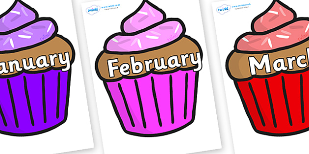 Months of the Year on Cupcakes - Months of the Year, Months poster, Months display, display, poster, frieze, Months, month, January, February, March, April, May, June, July, August, September