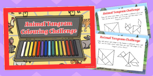 Chinese New Year Colouring Tangram Challenge Cards - australia