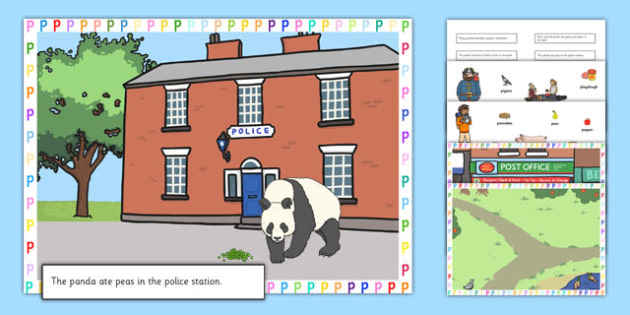 Silly P Sentences Cut and Stick Pictures - silly p, sentence, cut and stick, pictures