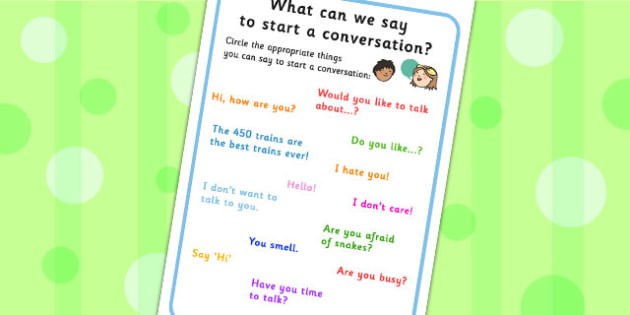 What Can We Say To Start A Conversation No Writing Worksheet