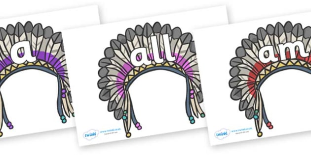 Foundation Stage 2 Keywords on Headdresses - FS2, CLL, keywords, Communication language and literacy,  Display, Key words, high frequency words, foundation stage literacy, DfES Letters and Sounds, Letters and Sounds, spelling