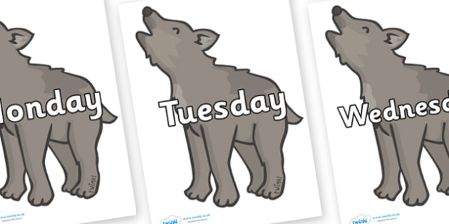 Days of the Week on Wolf Cubs - Days of the Week, Weeks poster, week, display, poster, frieze, Days, Day, Monday, Tuesday, Wednesday, Thursday, Friday, Saturday, Sunday