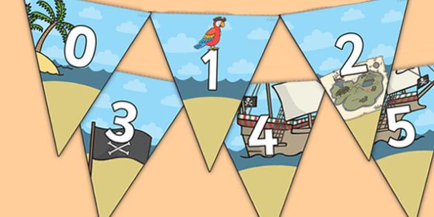 Pirate Themed 0 31 Bunting - pirate themed, pirate bunting, 0-31 on bunting, numberline bunting, pirate numberline bunting, bunting