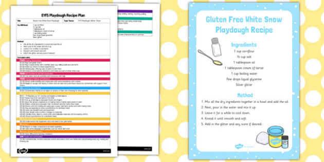 EYFS Gluten Free White Snow Playdough Plan and Recipe Pack - playdough