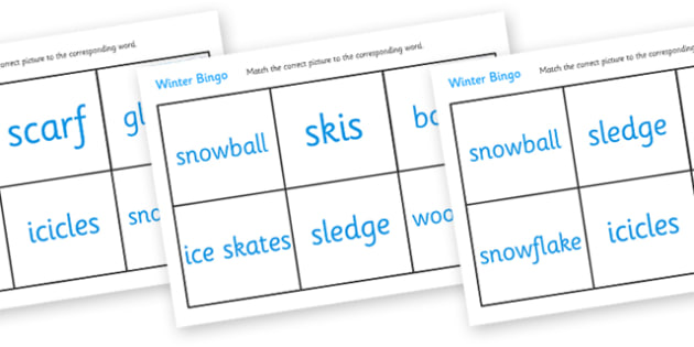 Winter Bingo - Winter, bingo, lotto, game, activity, penguin, huskey, snow, winter, frost, cold, ice, hat, gloves