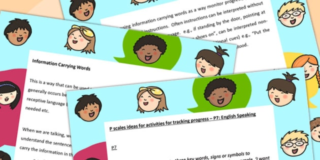P Scales Ideas Activities for Tracking Progress English Speaking