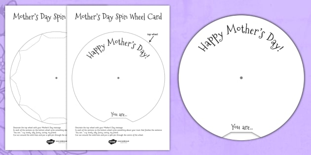 Mothers Day Spin Wheel Card - mothering Sunday, mother, mum