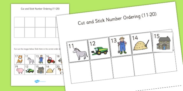 Farm Themed Cut and Stick Number Ordering Sheets 11-20 - farm